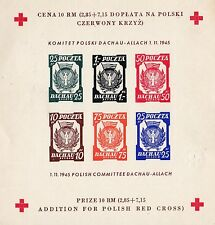 FINE AND UNCOMMON 1945 POLAND DACHAU DEATH CAMP RED CROSS IMPERF STAMP SHEET 25*