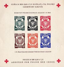 FINE 1945 POLAND DACHAU DEATH CAMP RED CROSS IMPERF STAMP SHEET 23*2