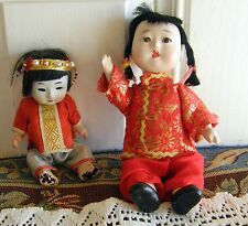2 SMALL ORIENTAL DOLLS  JAPAN & CHINA BISQUE & COMPOSITION AS IS