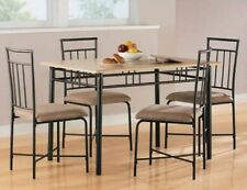 Dining Table and Chairs 5 pc Set Dinette Brown Cushioned Kitchen Breakfast Nook