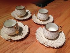 Vintage German Tea Cups & Saucers Porcelain (Set of 4)