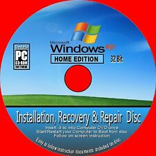 WINDOWS XP HOME EDITION 32 Bit WITH SP3 CLEAN INSTALL RECOVERY REPAIR CD ROM NEW