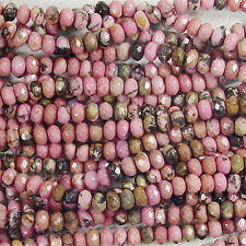 RHODONITE 6MM FACETED RONDELLE GEMSTONE BEADS A+ PINK