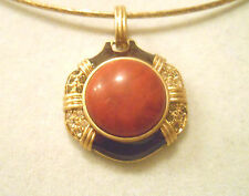 NWT LIA SOPHIA SPARKLY GOLD OMEGA NECKLACE W/ RED CABOCHON RHINESTONE SLIDE