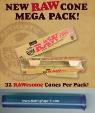 32 RAW Mega Pack Cones 1 1/4 Size PreRolled Natural Rolling Paper + Storage Tube