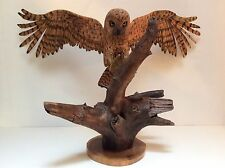 """RARE ONE OF A KIND LARGE WOOD HAND CARVED OWL 34"""" WINGSPAN SIGNED AND DATED"""