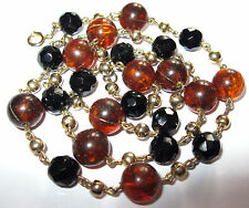 PRETTY VINTAGE 1950's Amber MARBLED LUCITE Early Plastic Jet GLASS BEAD NECKLACE