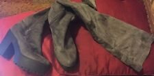 OVER THE KNEE THIGH HIGH CHUNKY PLATFORM HEEL STRETCH SOCK BOOTS SUEDE SUEDETTE