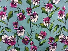 ORCHIDEE BLU TEX EX 1454 Prato Cotone morbido tessuto a fiori Artigianale Sartoriale