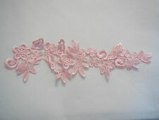 Baby Pink bridal floral lace Applique/ wedding lace motif for sale.Sold by piece