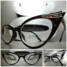 CLASSIC VINTAGE CAT EYE Style Clear Lens EYE GLASSES Dark Tortoise Fashion Frame