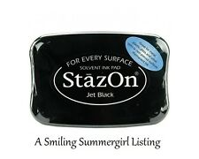 Stazon Jet Black Ink Pad Stamp on metal, shrink plastic, acrylic, foils and more