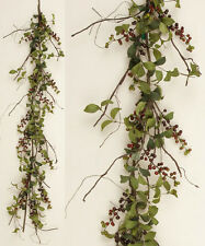 New HERB LEAF BURGUNDY BERRY GARLAND Country Cottage Primitive Vine Swag Twig