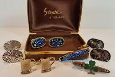 VINTAGE STRATTON IMITATION NIPPY-CLIP - CUFFLINKS & TIE PINS SHAMROCK, GILT ETC