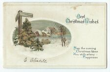 Vintage Postcard Best Christmas Wishes, Embossed