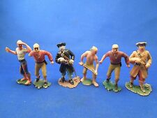 Vintage 6 Lot of Plastic Toy Pirates -5 Made in Germany and 1 Made in Hong Kong