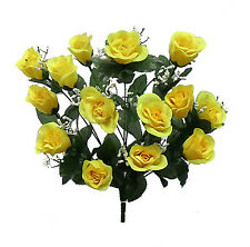 14 Long Stem Roses ~ YELLOW ~ Silk Wedding Flowers Centerpieces Longstem Bridal