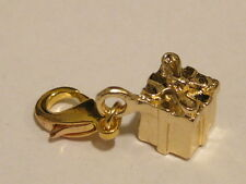 LOBSTER CLIP ON GOLD GIFT BOX PRESENT CHARM- WILL FIT LINKS BRACELET