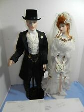 Franklin Mint Heirloom Gibson Bride and Groom Collectible Porcelain Dolls