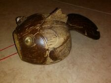 1970s Hanging Hand Carved Coconut Fish Island Souvenir Art