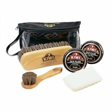 KIWI Travel Shoe/Boot Shine Polish/Leather Care Kit Valet 6 Piece