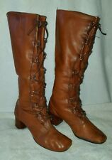 Women's Tall vintage brown winter granny lace up combat riding boots sz 7.5
