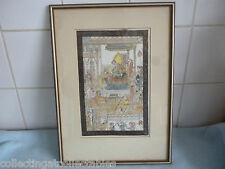 Vintage Persian Mughal Painting On Silk Depicts a Darbar Court Scene