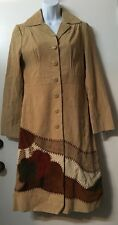 Women's Native American Design Suede Leather Long Coat by Nine West Size S EUC