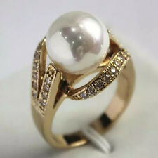 12mm South Sea shell pearl Bead Gemstone Jewelry Ring Size 6 7 8 9 AAA Top Grade