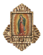 Guadalupe Lady Virgin Retablo Folk Art Framed Oil Painting Handcarved Wood