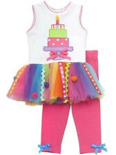 Rare Editions Girls 3rd BIRTHDAY Party Multi Color Tutu Dress + Leggings 3T New