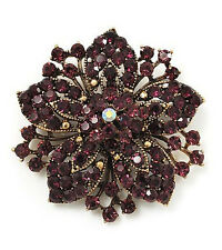 Vintage Antique Gold & Deep Purple Rhinestones Flower Shaped Brooch Pin BR149