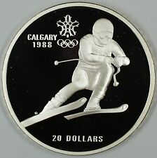 1985 Canada $20 Proof 1988 Calgary Olympic Coin- Downhill Skiing