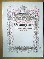 Opern theatre Prog- TANNHAUSER And DERS Anger at Wartburg ~4 Dec 1927 (Org,RARE)