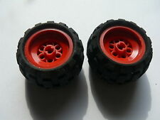 Lego 2 roues rouges set 8385 8226 / 2 red wheels w/ tires