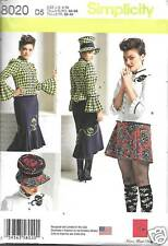 8020 MISSES BLOUSE, HAT AND KNIT SKIRTS SIZES 4-12  SIMPLICITY PATTERN 8020