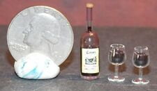 Dollhouse Miniature Red Wine Bottle & Glasses Set  1:12  One Inch scale F5