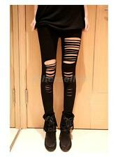 Women's Black Sexy Cut out Hollowed Stripe Fashion Tight Punk Rock Legging