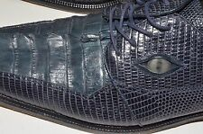 Romano Handmade Shoes Genuine Crocodile With Eyes Sz 13 Mens Dress Blue