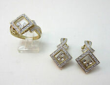 14K YELLOW GOLD BJC FLOATING GLASS DIAMOND RING & CLIP ON EARRINGS SET **