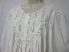 "Vintage ""Nicole""  Button Front Cotton-Poly Nightgown/Robe Floral Embroidery/Lace"