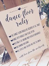 Ivory Vintage/Rustic A3 'Dance Floor Rules' sign for weddings, UNBACKED