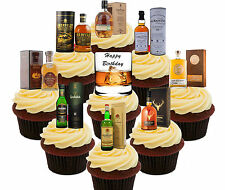 Happy Birthday Whisky 36 Edible Cup Cake Toppers, Fairy Bun Decorations Men Male