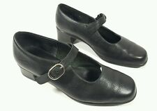 K Shoes black grained leather mid block heel Mary Jane shoes UK 4.5