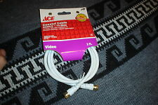 ACE HARDWARE 6 ft. Coaxial Cable VCR To TV (New Old Stock) white