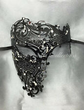 New Black Phantom Laser Cut Venetian Mask Masquerade Metal Men Skull Filigree