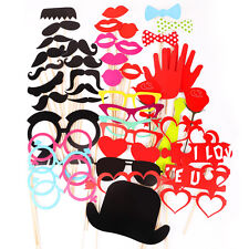 44 Wedding Christmas Birthday Party Photo Booth Props Red Heart Hot Love Themed