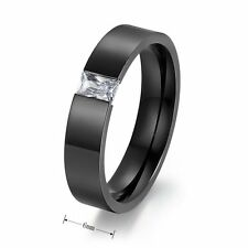 Men Stainless Steel Ring Black Band Sapphire Father Husband Wedding Class 7-11