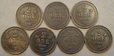 Sweden  Two Ore 1879,82,86,89,90,99,+1900 Mid Grade as Pictured