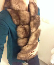 NEU! Sable color Zobel Farbe Fuchs Pelzschal Kragen Stola brown fox fur scarf